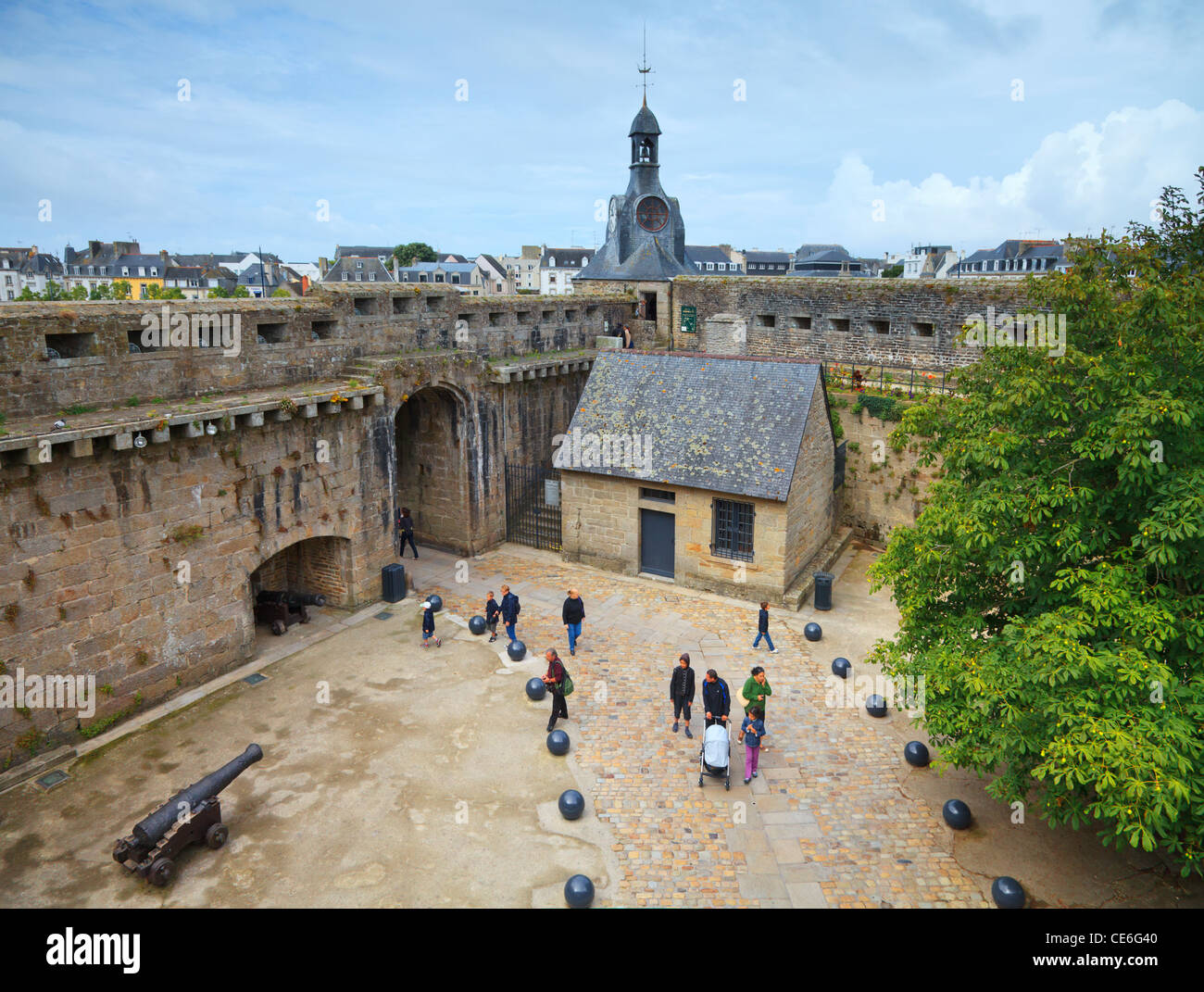 A high angle view of the old town of Concarneau, Brittany, France, from the ramparts. - Stock Image