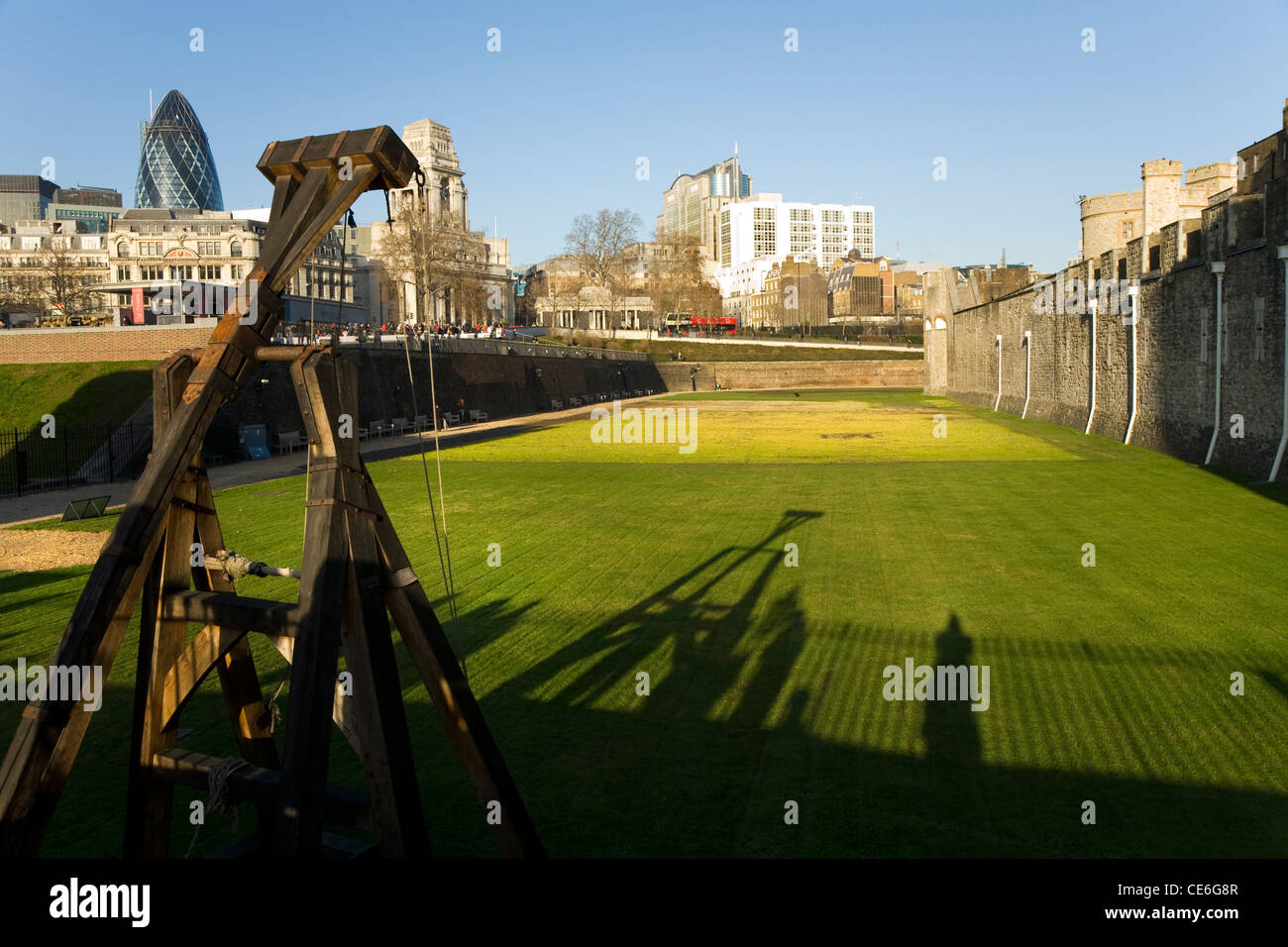 Remains of the moat at the Tower of London, in London. UK. - Stock Image