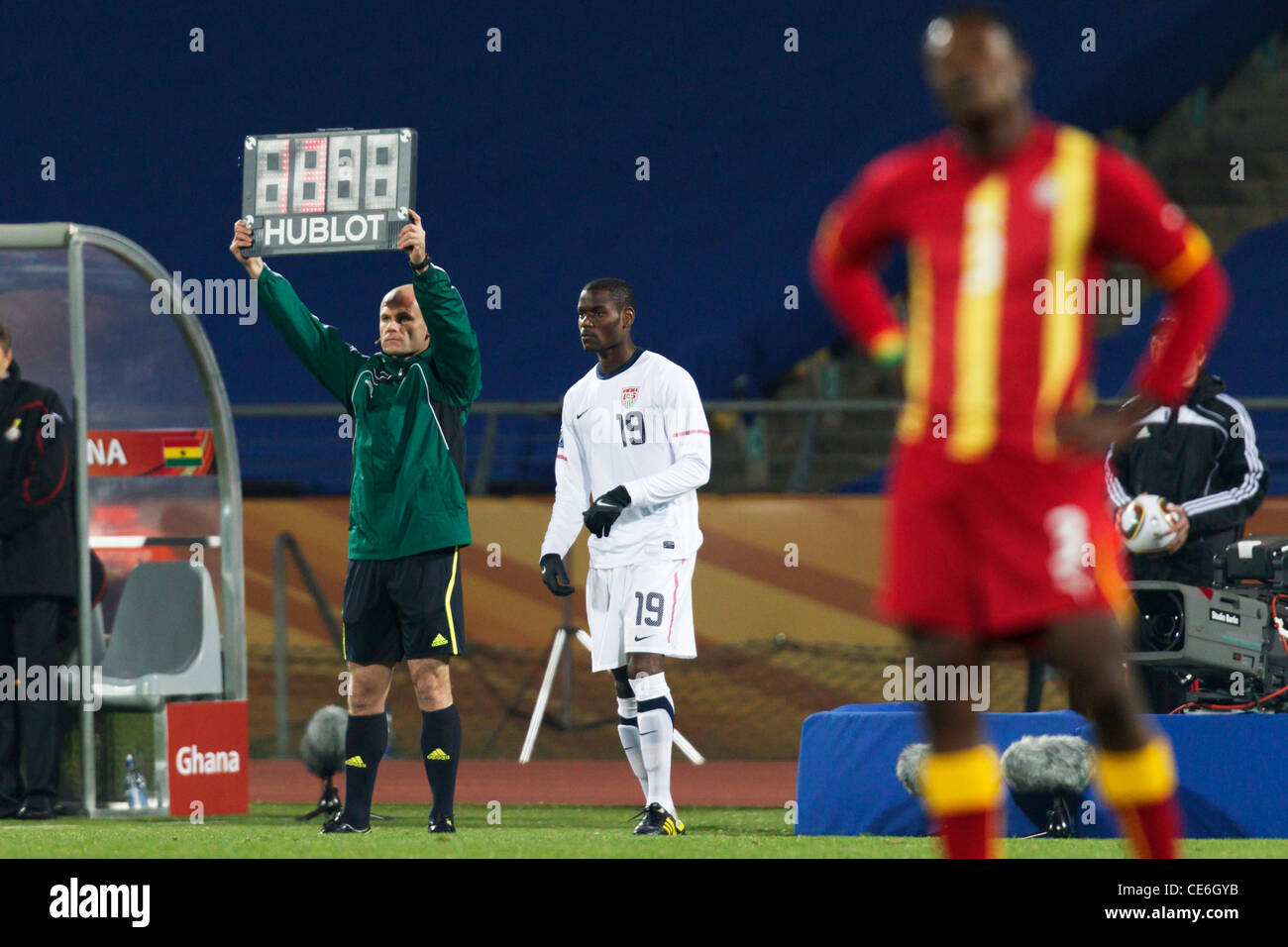 Maurice Edu of the United States (19) enters as a substitute during a 2010 FIFA World Cup round of 16 match against - Stock Image