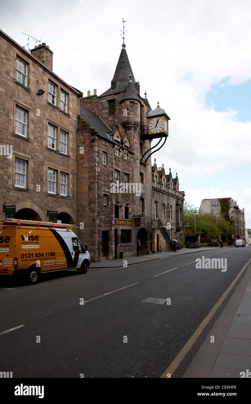 Edinburgh, Scotland, United Kingdom, Europe The Cannongate Tolbooth in the Royal Mile Edinburgh clock  overhanging Stock Photo