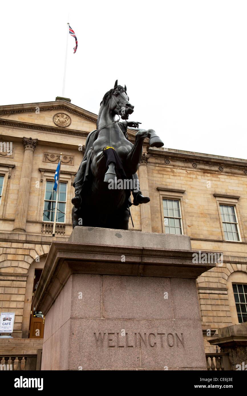 Edinburgh, Scotland, United Kingdom statue is known as 'The Iron Duke (Duke of Wellington) in bronze H M General - Stock Image