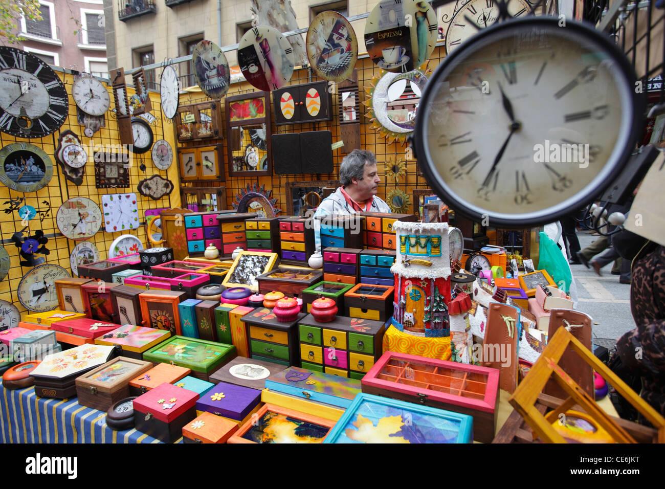 The market of El Rastro, Madrid, Spain - Stock Image