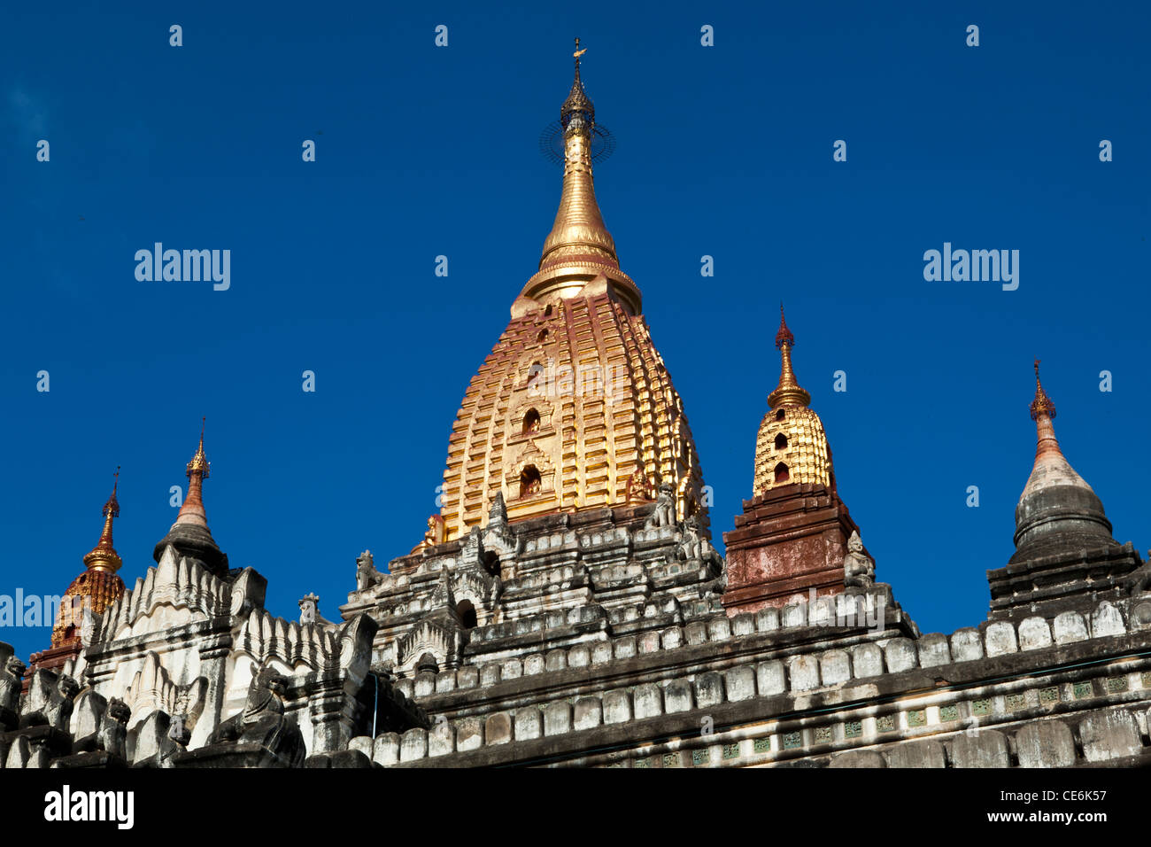 Ananda temple is considered one of the masterpieces of Mon architecture. Ananda is also the finest, largest and - Stock Image