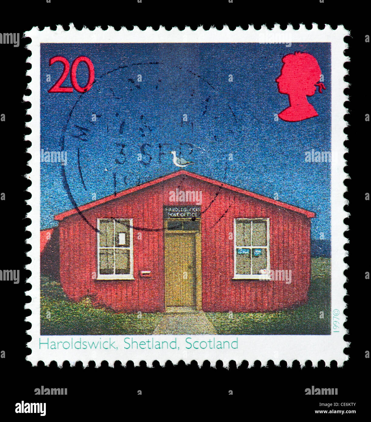 Postage stamp from great britain depicting a post office in stock photo 43173227 alamy - Great britain post office ...