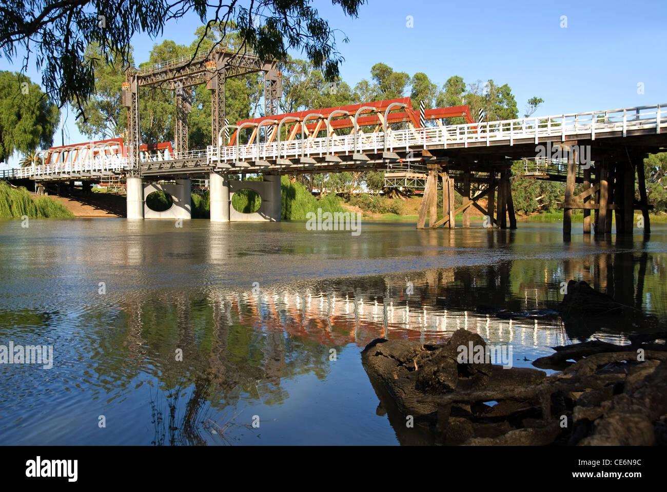 A bridge over the Murray River in Echuca, Victoria, Australia Stock Photo