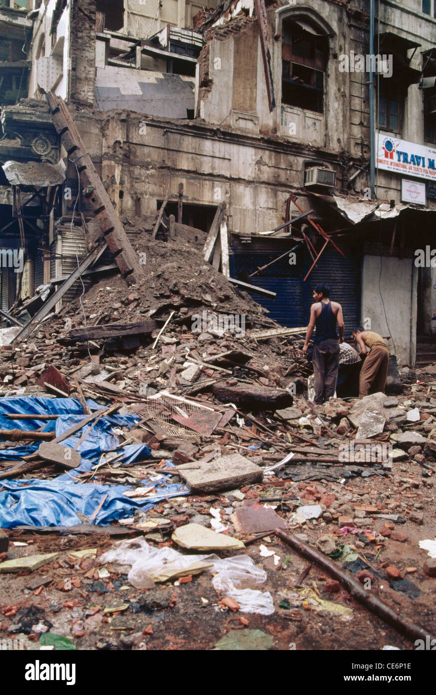 Building collapse Bombay Mumbai Maharashtra India - Stock Image