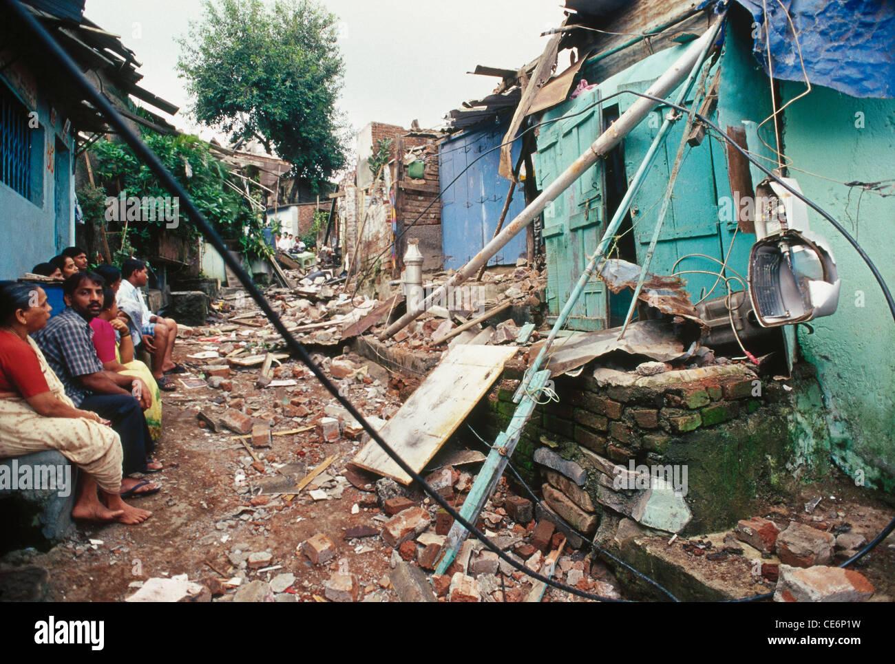 illegal slums demolished mumbai india - Stock Image