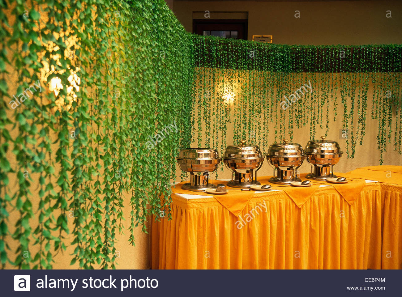 Buffet table with copper pots at wedding reception india stock photo buffet table with copper pots at wedding reception india junglespirit Gallery
