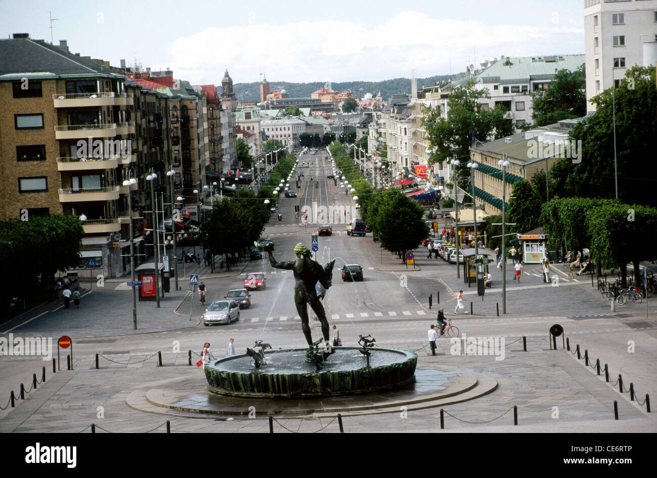 ANG 87870 : statue of poseidon water fountain roundabout view from Gotaplatsen Gothenburg Sweden - Stock Image