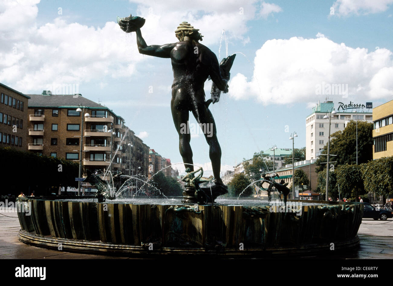 ANG 87871 : Statue of Poseidon water fountain roundabout Gotaplatsen Gothenburg Sweden - Stock Image