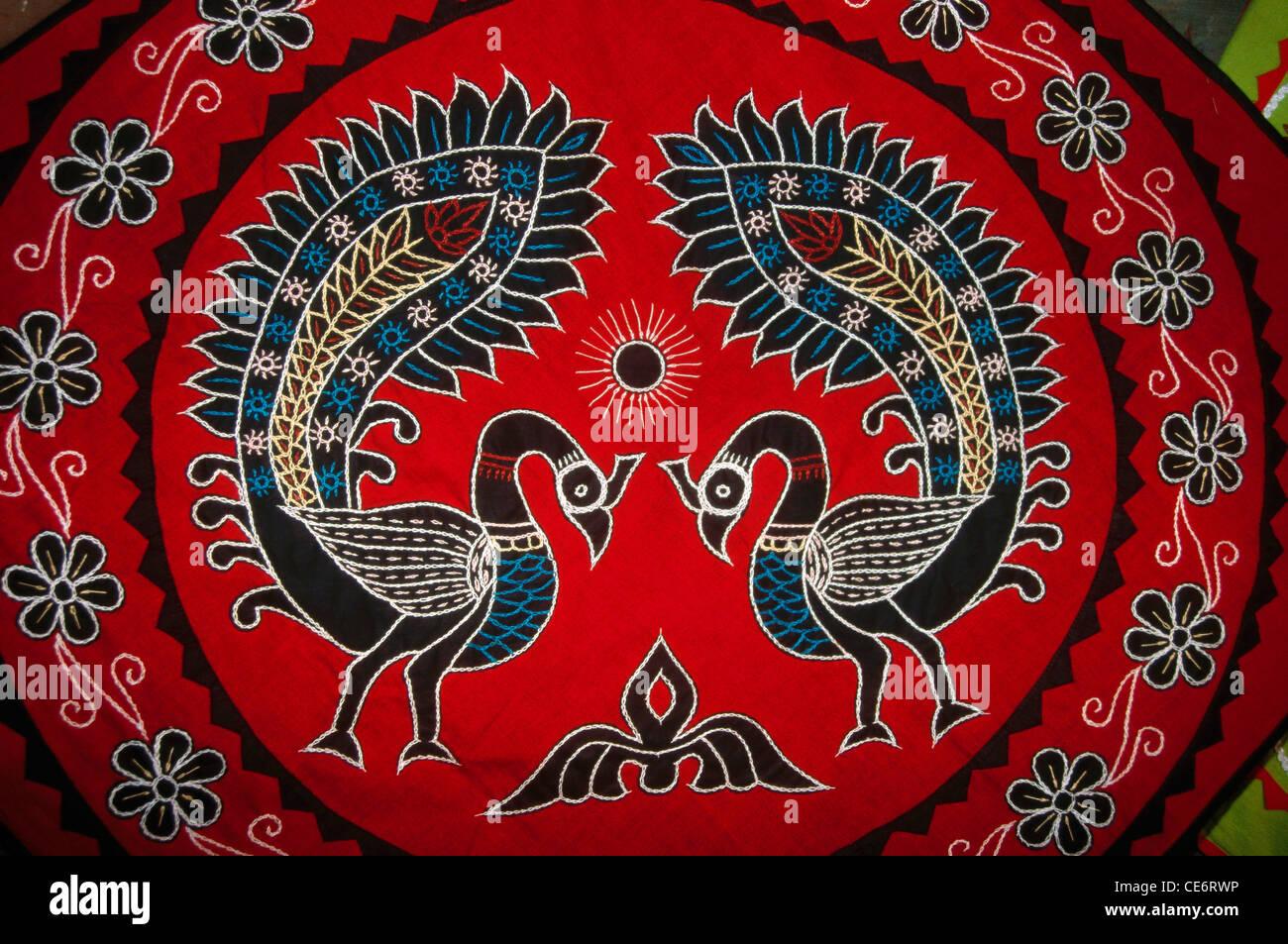Dba 85042 : pipli appliqué two dancing peacocks traditional folk art