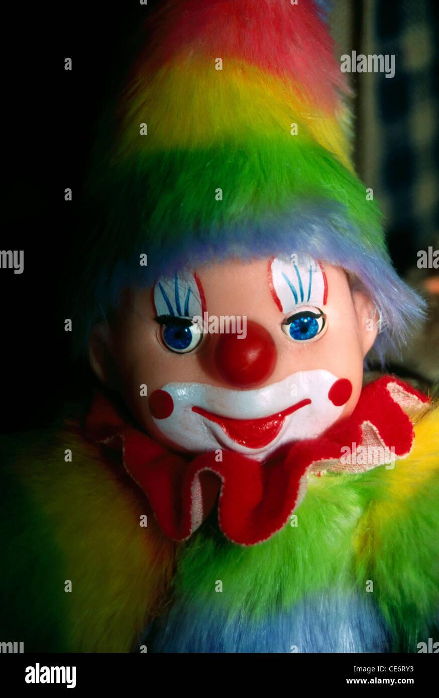 DBA 85071 : joker clown doll toy handicraft large eyes huge red nose big lips india - Stock Image