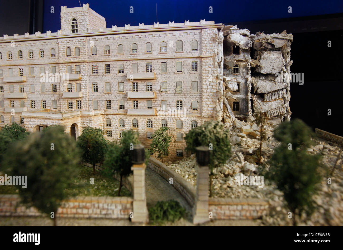 Miniature model depicting the Jerusalem King David Hotel after the explosion carried out by a militant Zionist group - Stock Image