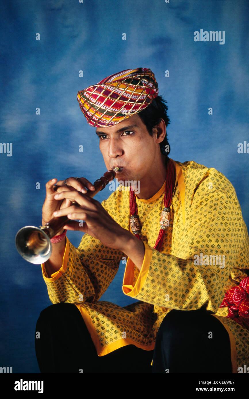 Indian Man Playing Shehnai Stock Photos & Indian Man Playing
