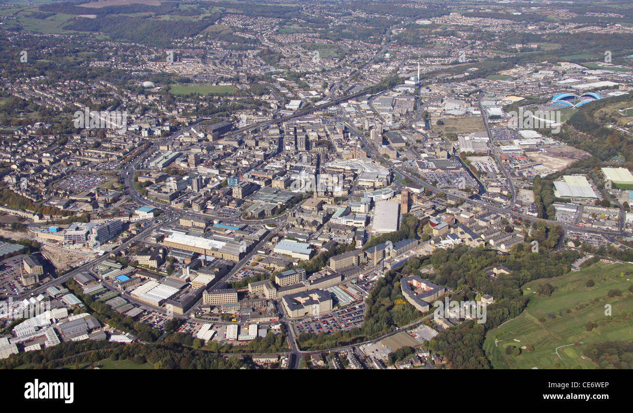 Aerial view of Huddersfield - Stock Image