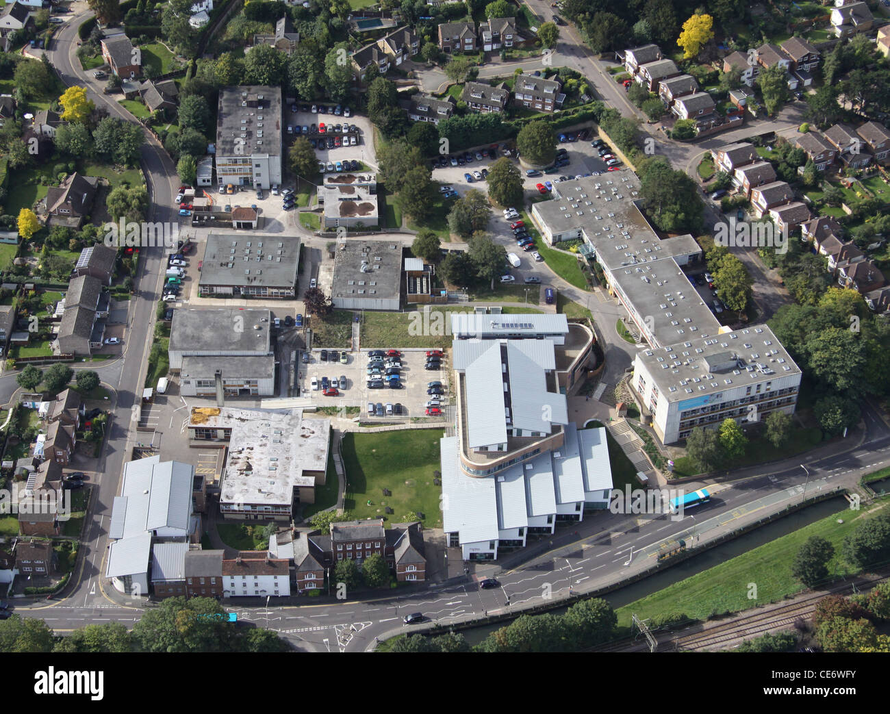 Aerial View of Hertford Regional College, Ware Campus - Stock Image