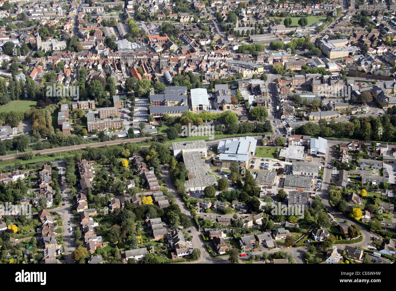 Aerial View of Hertford Regional College, Ware Campus with Ware town centre in the background - Stock Image
