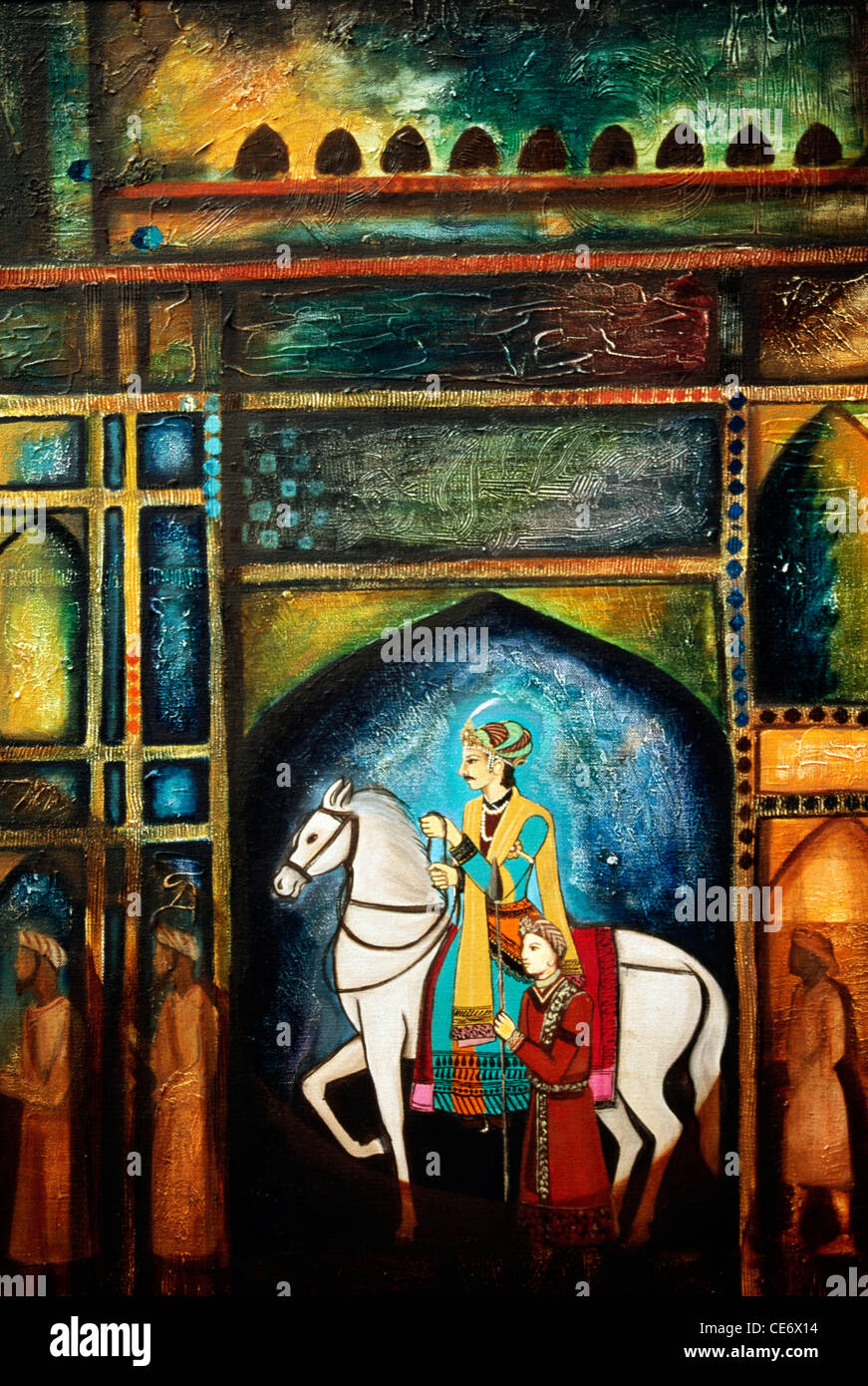 Bdr 83484 Painting Of Indian Royal King On White Stallion Horse Stock Photo Alamy