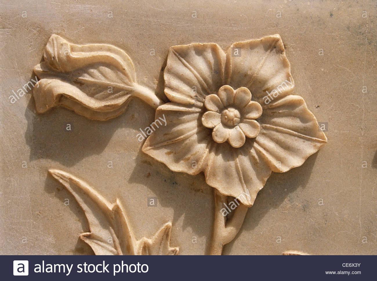 Flower relief carved on marble in taj mahal agra uttar pradesh india