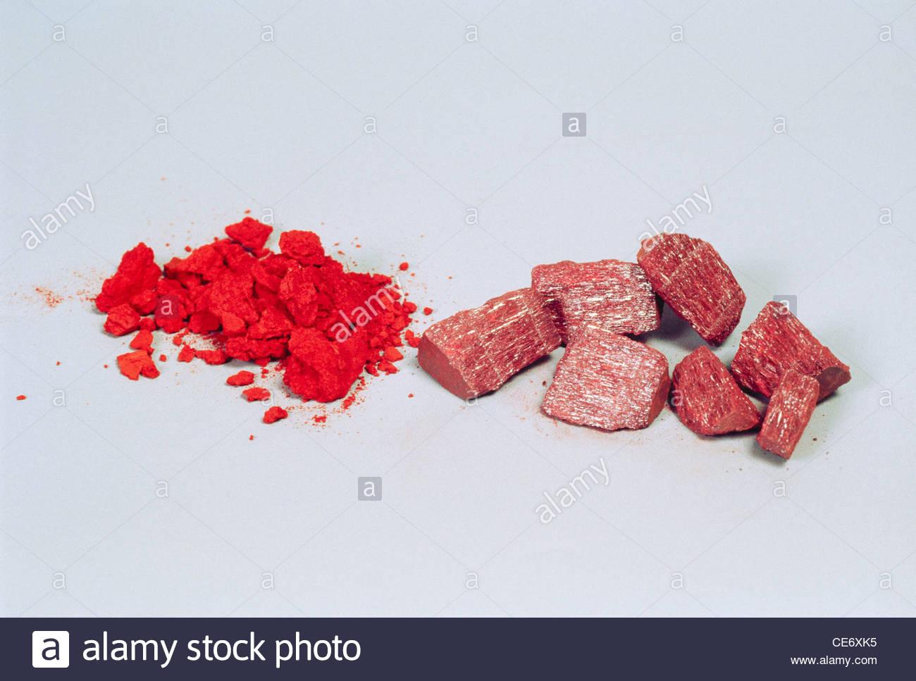 pure and impure hingul cinnabar - Stock Image