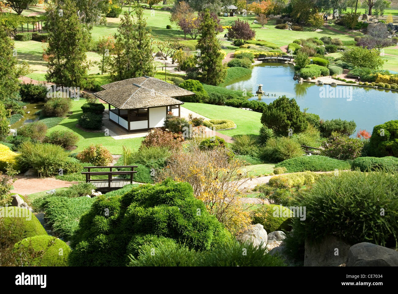 A scene from a Japanese Garden in Cowra, New South Wales, Australia - Stock Image