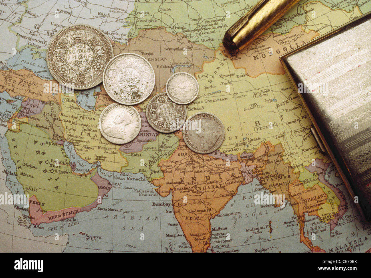 Historical map india stock photos historical map india stock rhs 83933 old indian coins 1936 to 1942 period money map of india stock gumiabroncs