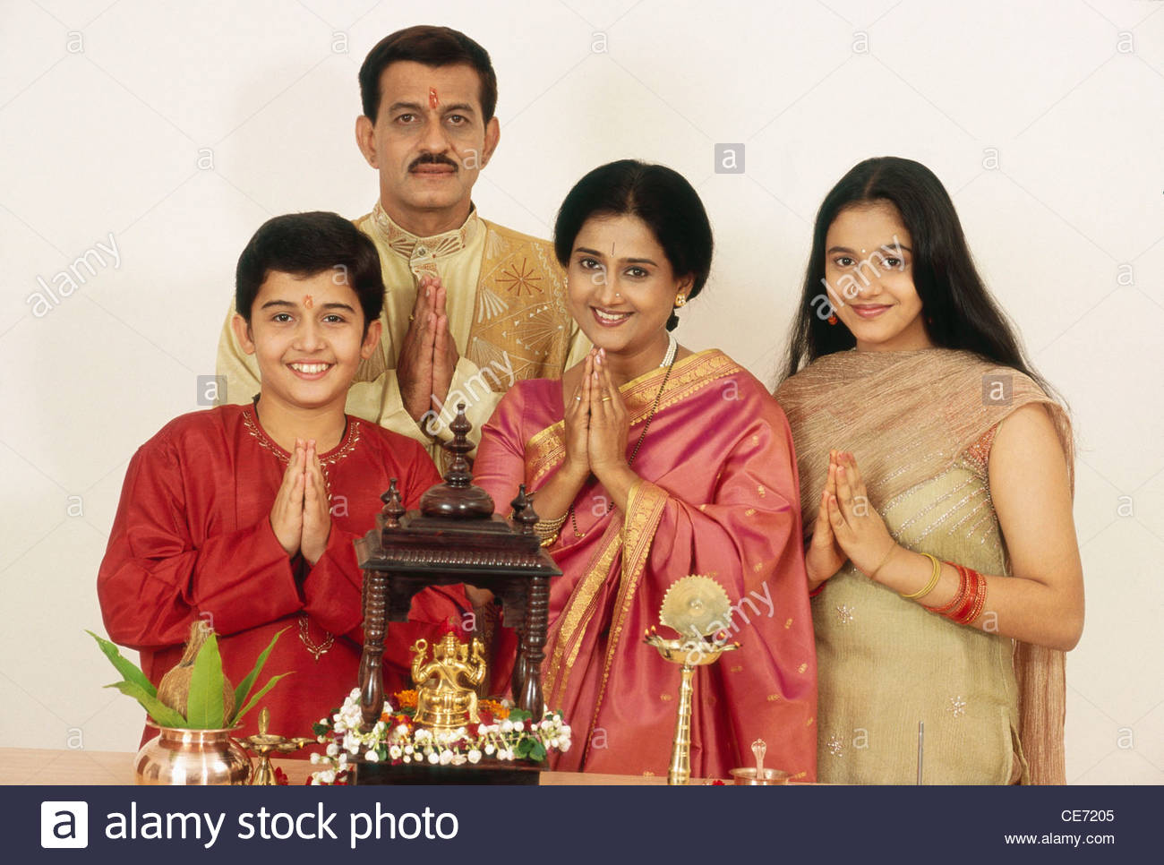 Indian hindu family of four Husband Wife Son Daughter ...