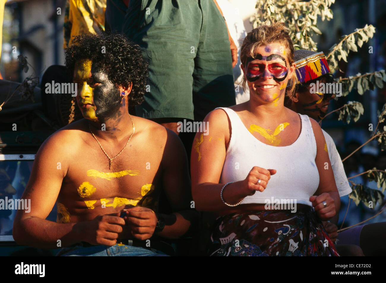 NGS 82570 : tourists with painted faces dancing in goan carnival festival ; panjim ; goa ; india - Stock Image