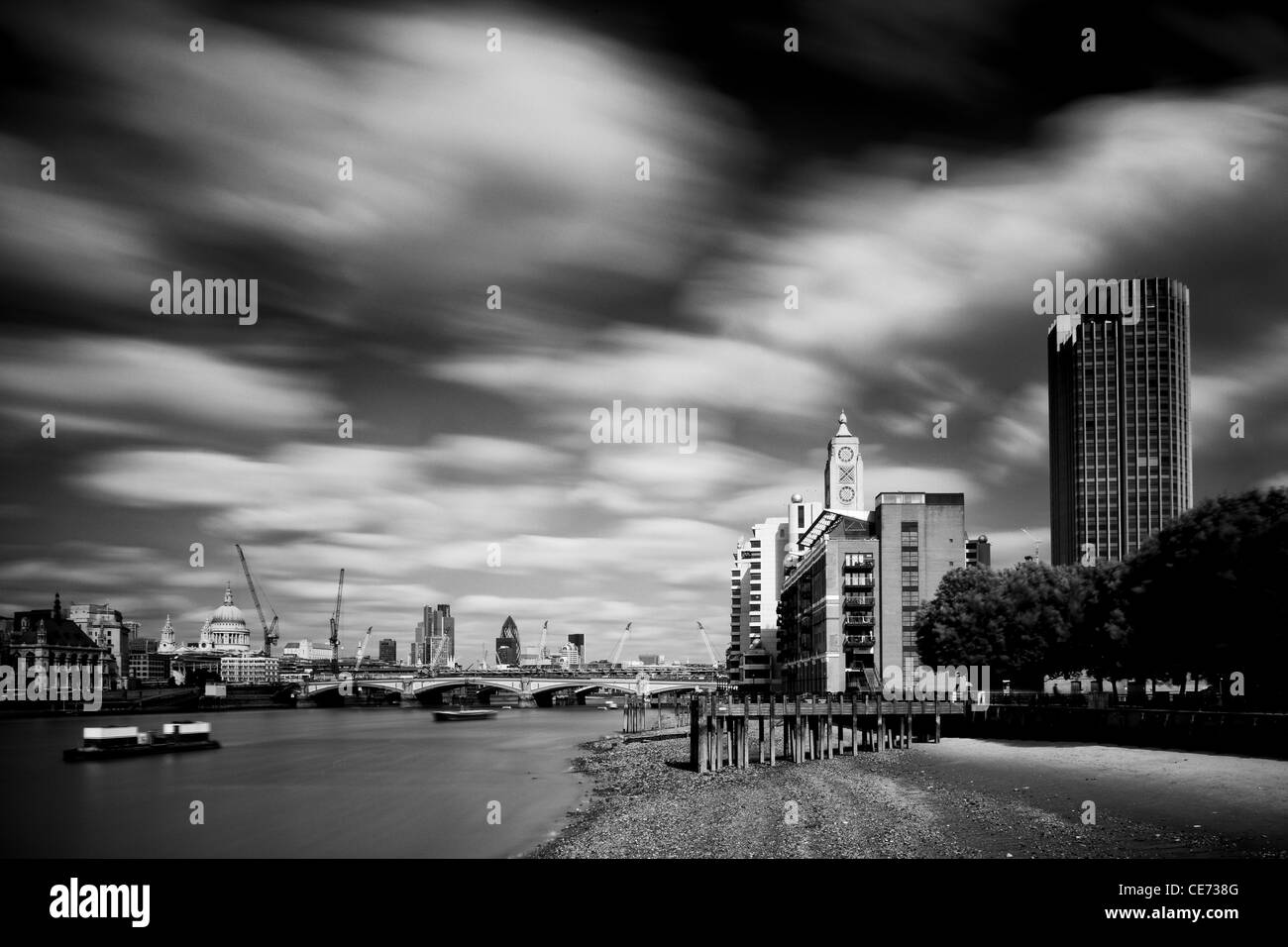 England, London, OXO Tower. The OXO Tower viewed from upstream of the River Thames - Stock Image