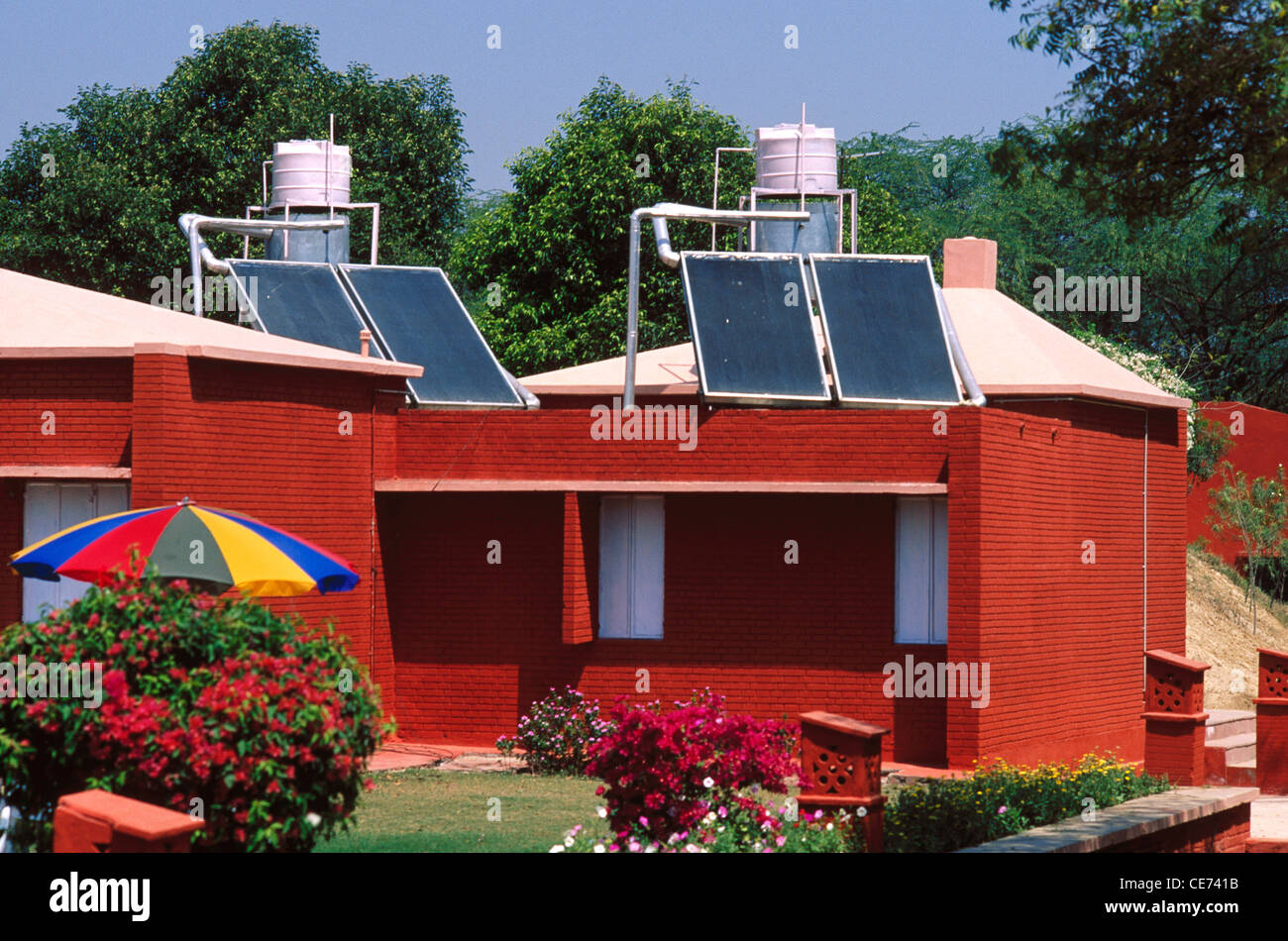 MBT 84479 : solar panels for water heater on top of bungalow agra uttar pradesh India - Stock Image