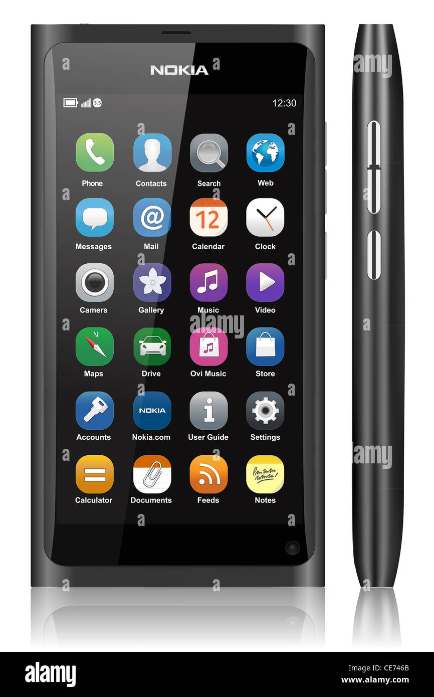 NOKIA N9 TOUCH SCREEN CELL MOBILE PHONE - Stock Image