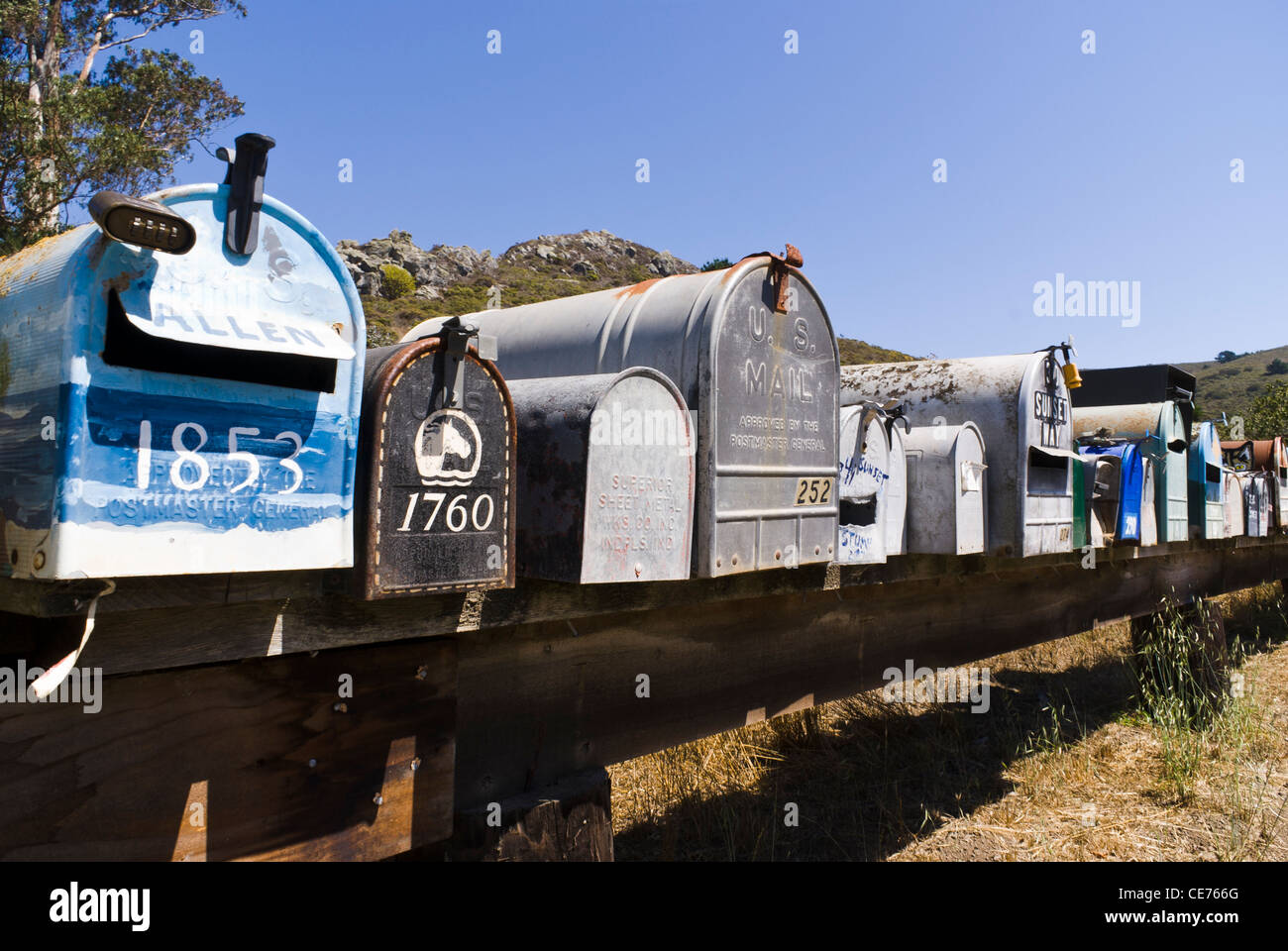 Mailboxes. Muir Beach, California, USA. - Stock Image