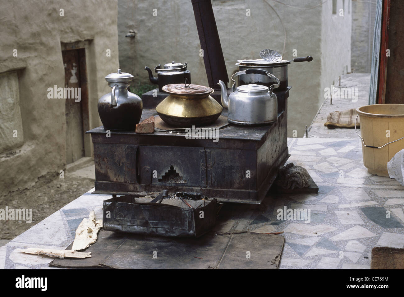 Kitchen Stove with vessels ; keylong ; himachal pradesh ; india - Stock Image