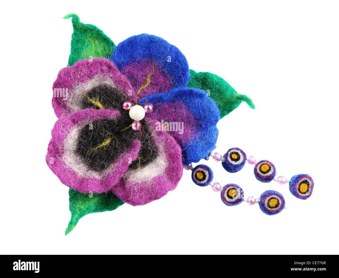 Felt of natural wool brooch. Viola - Stock Image