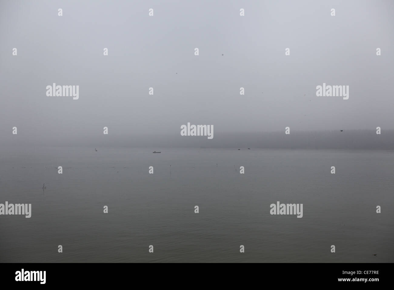 Fisherman in the fog at the confluence of the Sava and Danube river in the city of Belgrade, Serbia - Stock Image