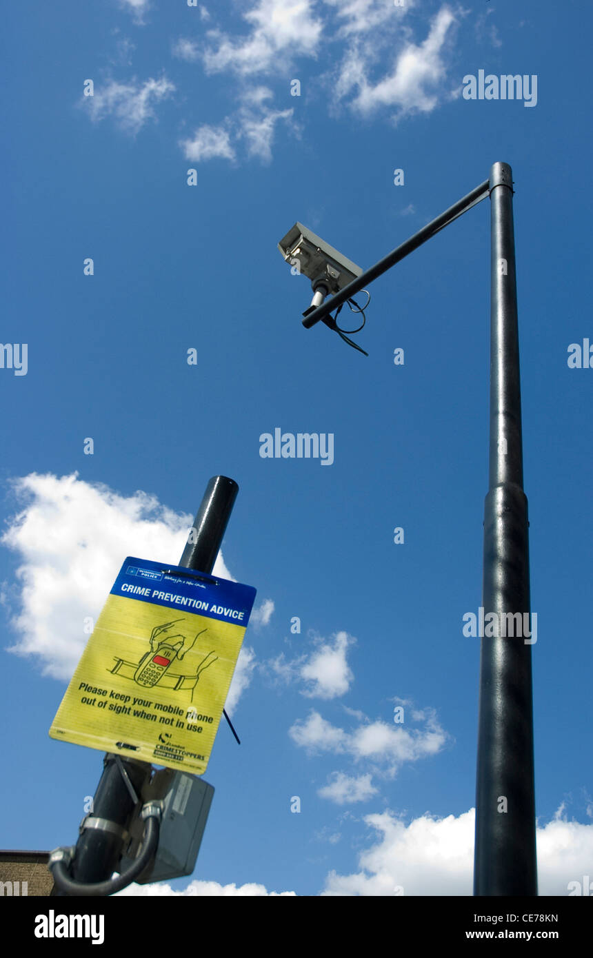 Security Camera's in the city of London, borough of Lambeth, reminding people to be vigilant and careful plus - Stock Image