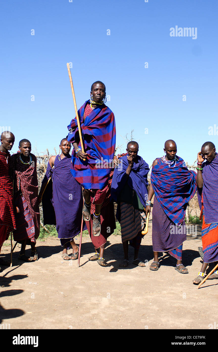 The men from a Masai village near the Serengeti National Park, Tanzania, perform a traditional jumping dance. Stock Photo