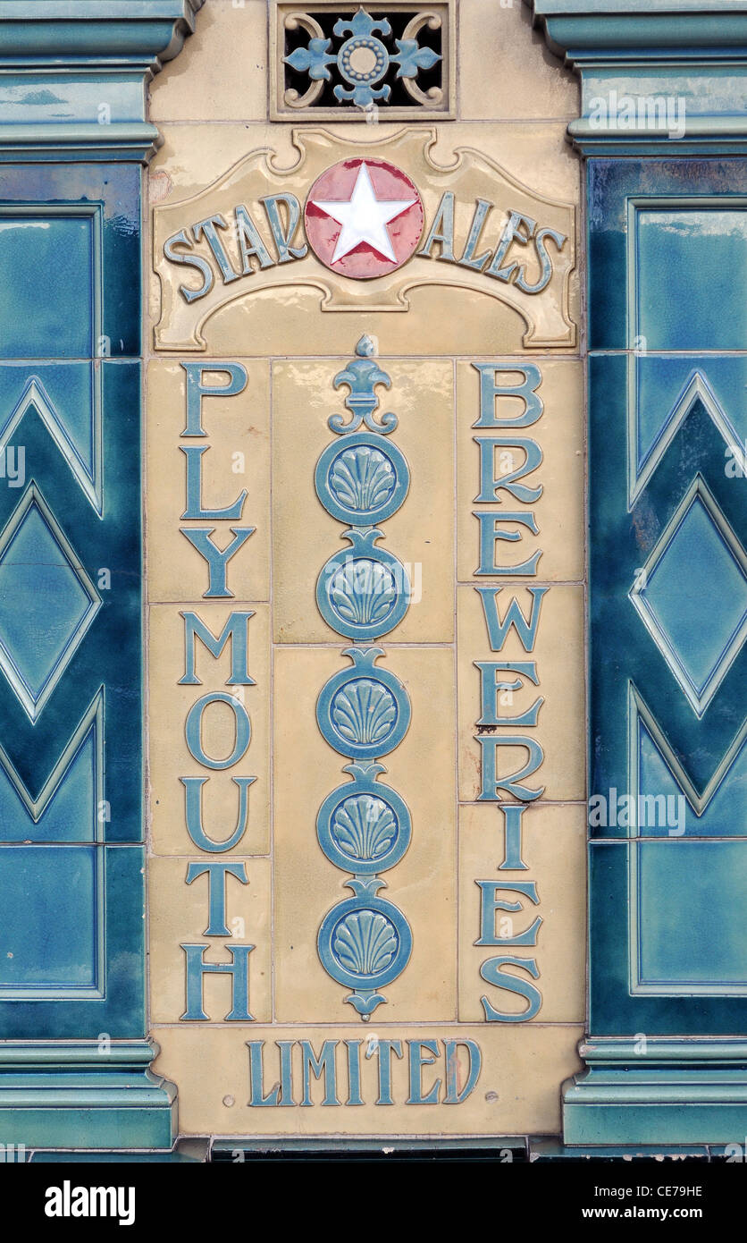 Plymouth Breweries,Star Ales,tiles,ceramics - Stock Image