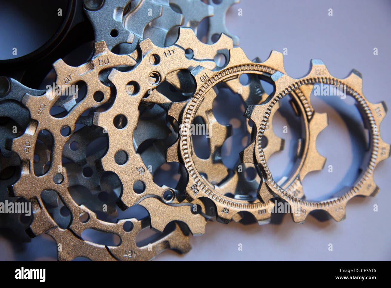 bicycle cogs cassette in close up - Stock Image