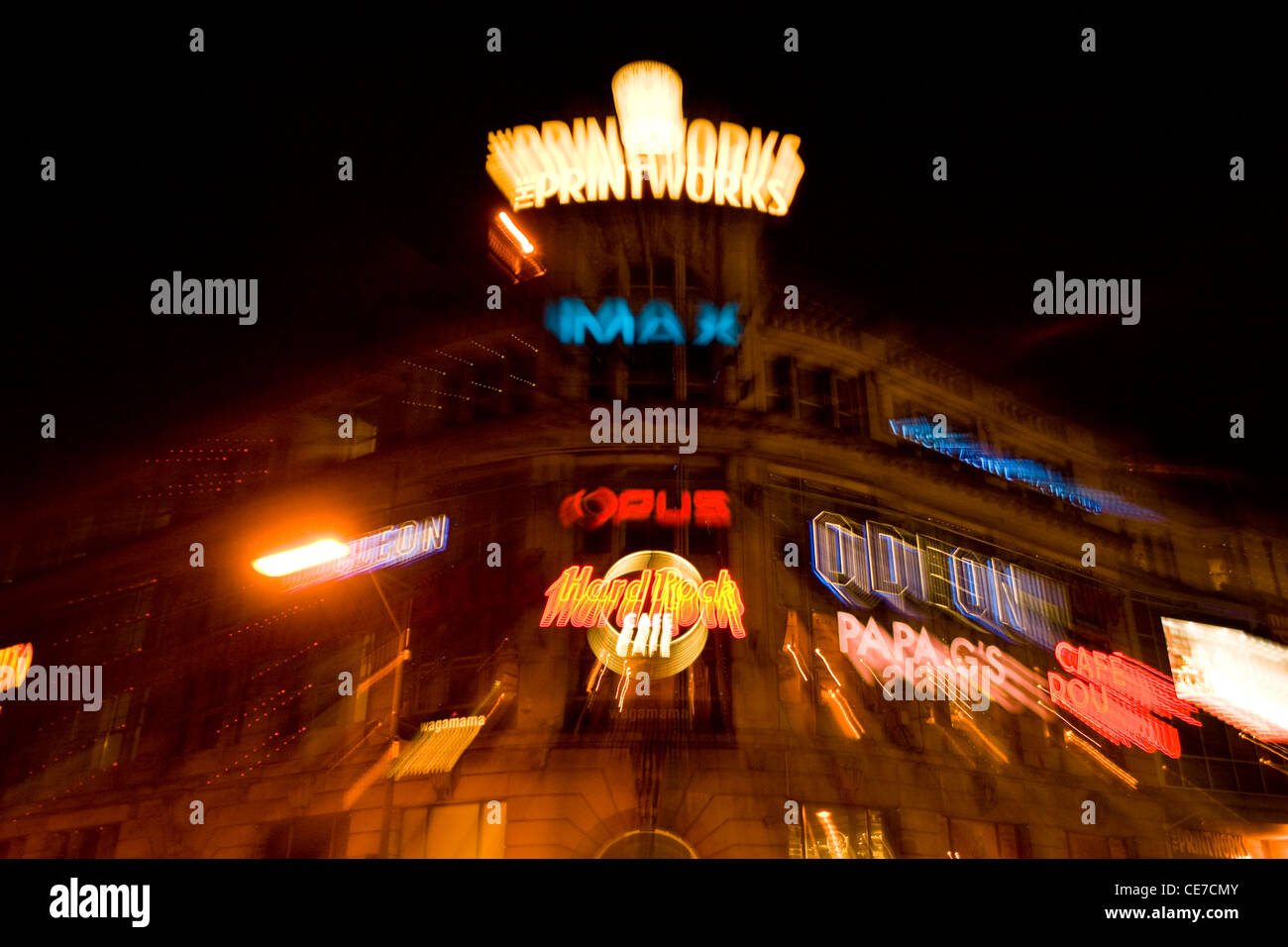 The Printworks Manchester City Centre UK. This image was created by using the in camera zoom burst method. - Stock Image