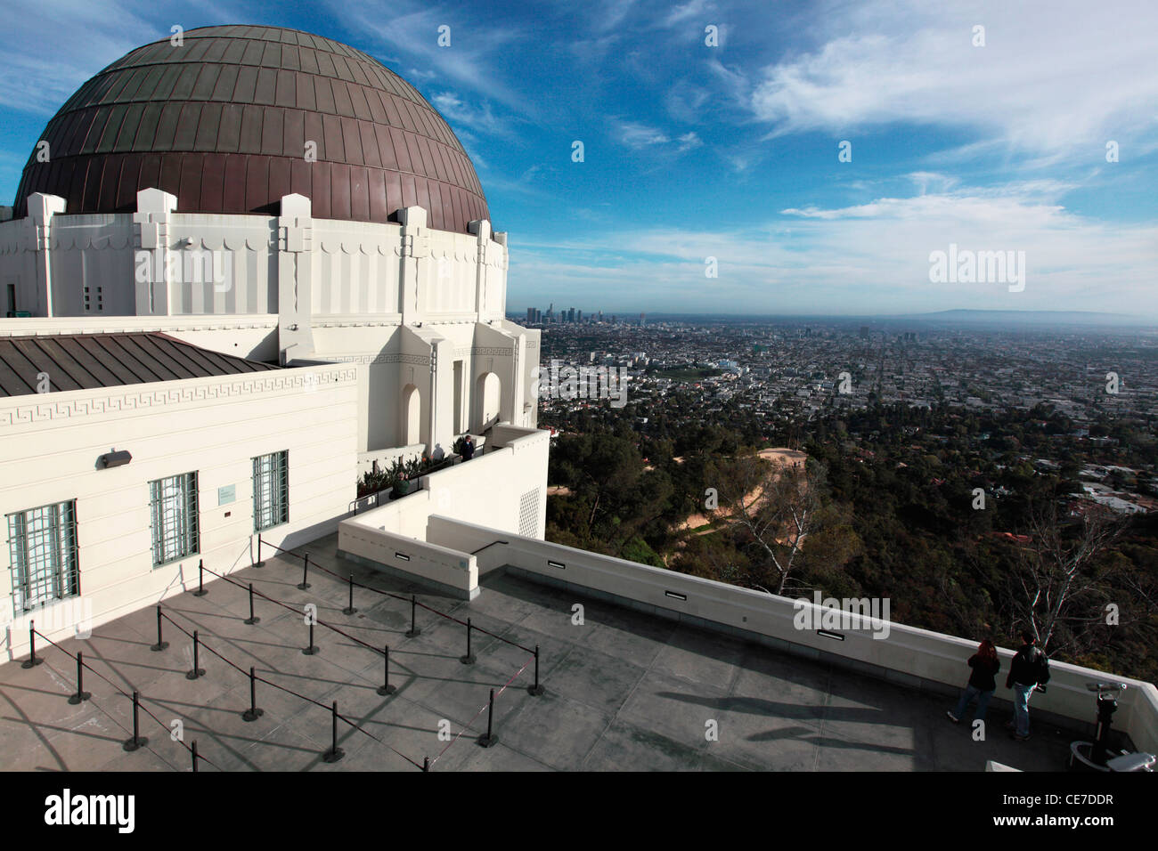 USA, California, Los Angeles, Griffith Observatory with the city of Los Angeles in background - Stock Image