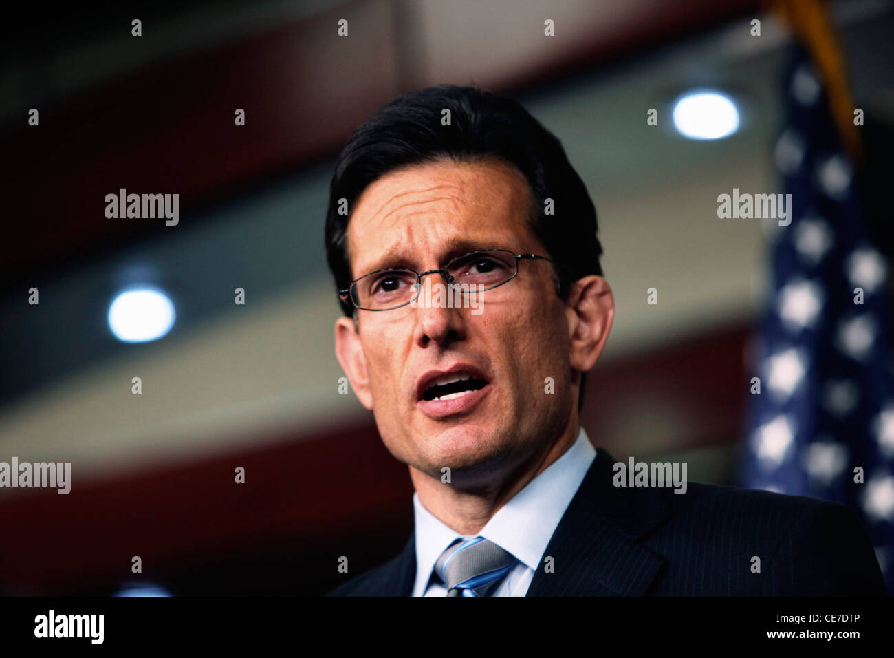 House Republican Whip  Eric Cantor at a press conference on the Deb Ceiling legislation. - Stock Image