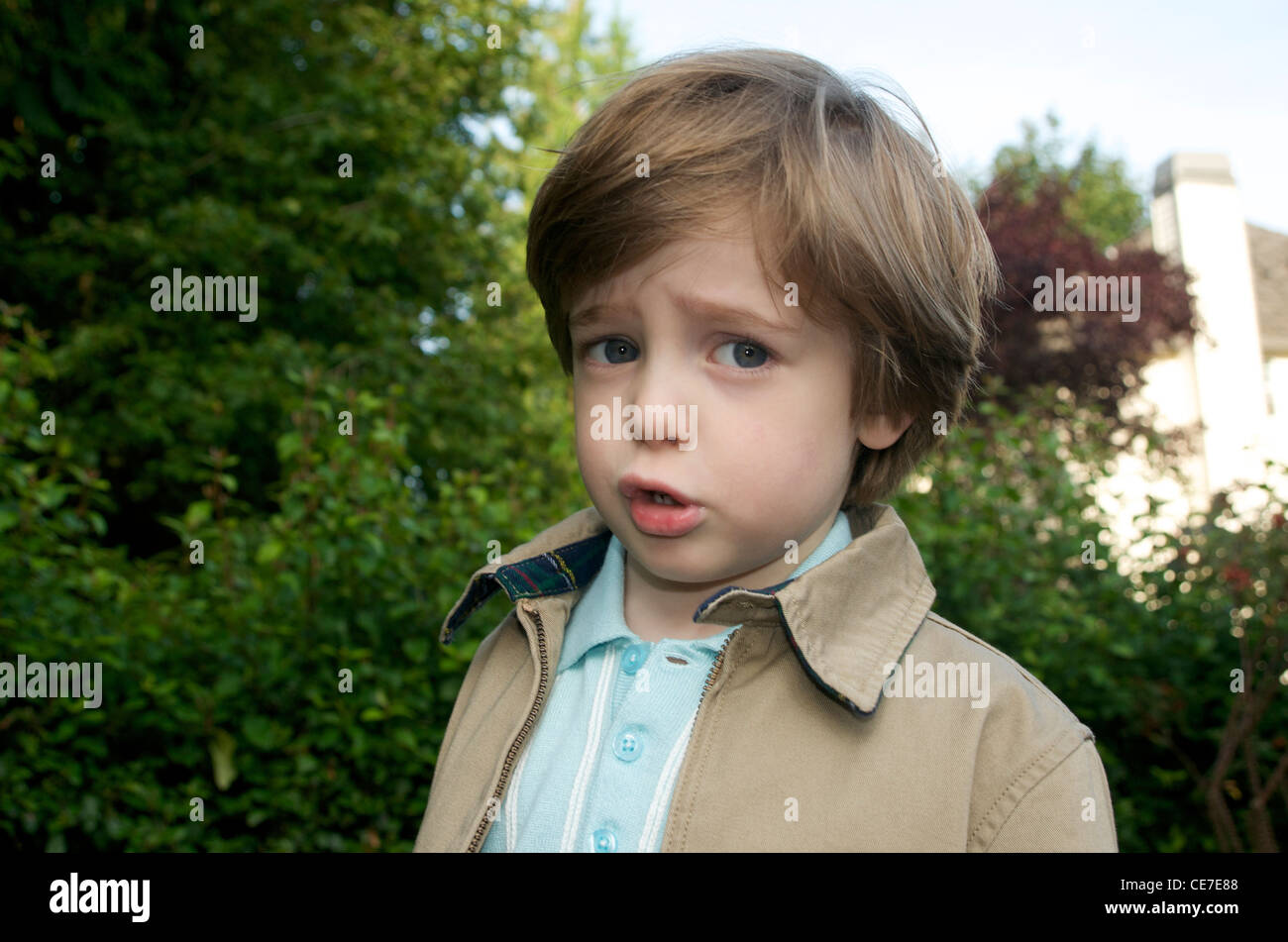 Silly boy has something to say - Stock Image