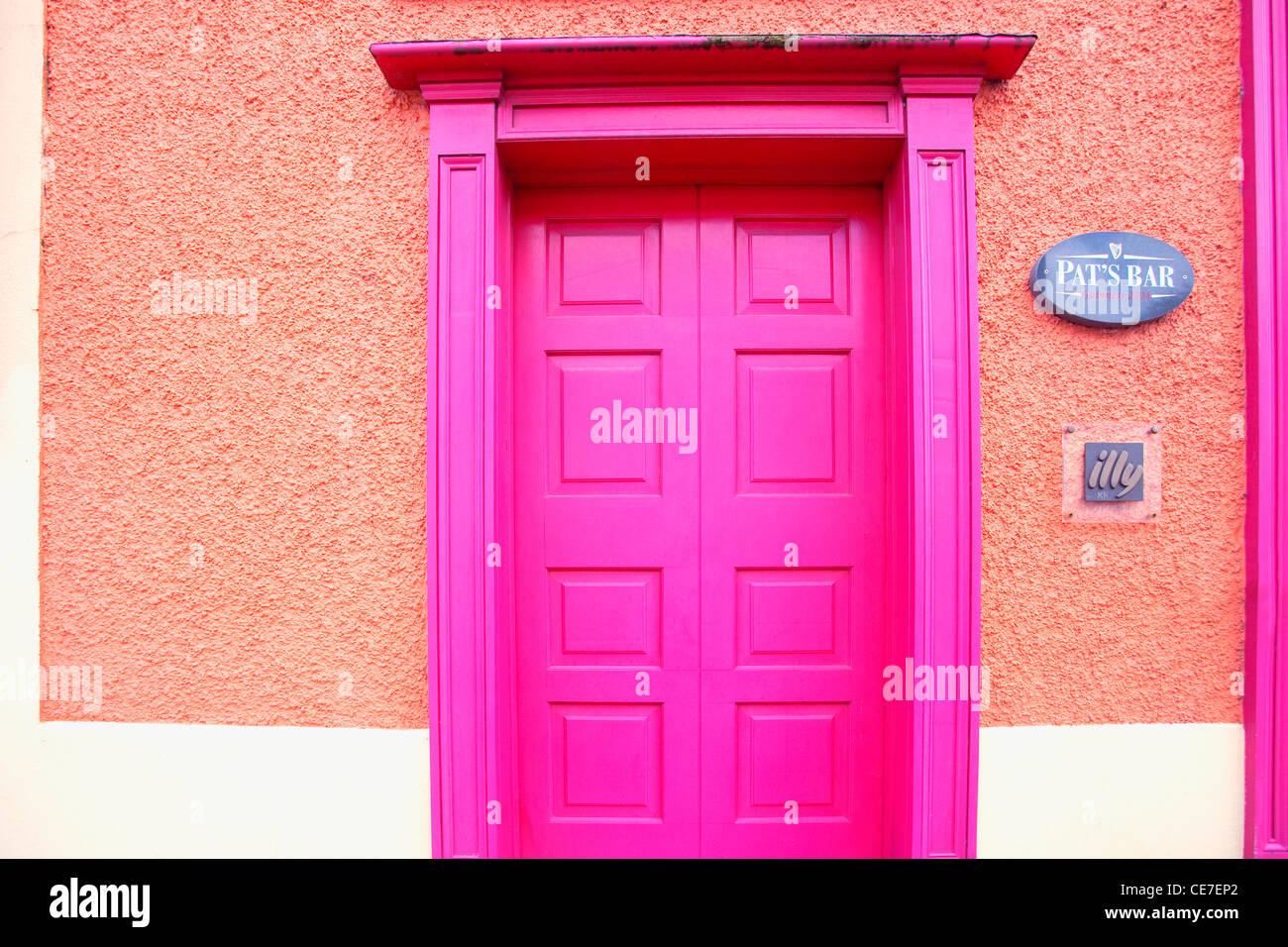 Magenta door, Westport, County Mayo, Ireland - Stock Image
