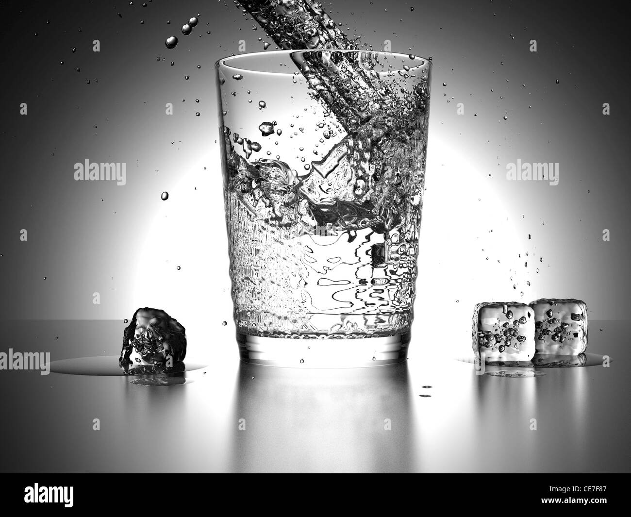 Water Splash into a glass with icecubes beside the glass - Stock Image