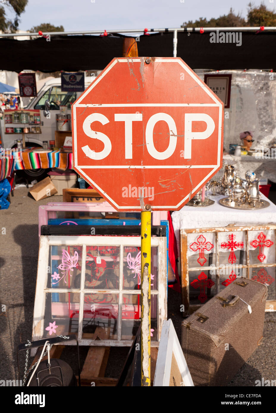 Antique stop sign - Stock Image