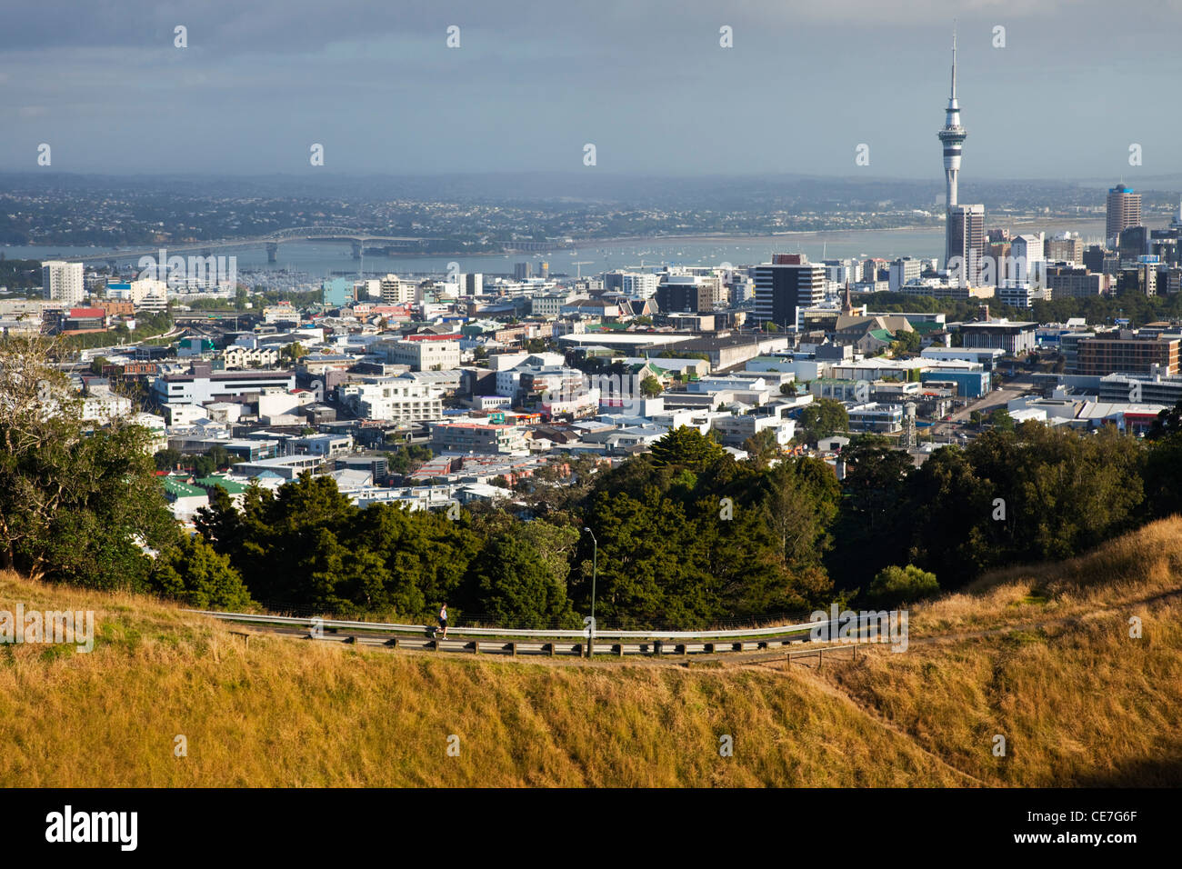 View of the city from Mt Eden (Maungawhau). Auckland, North Island, New Zealand - Stock Image