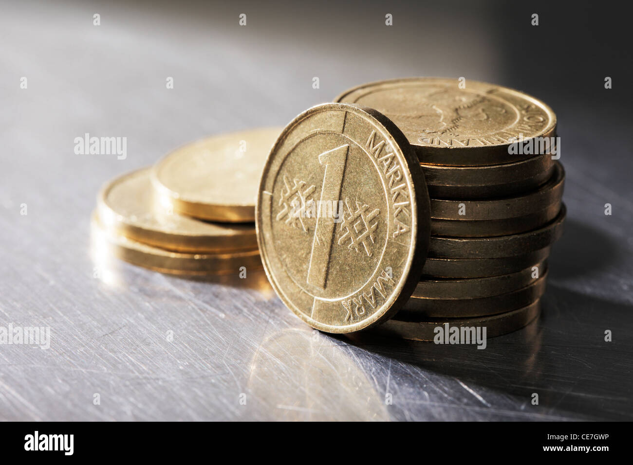 The Finnish markka was the currency of Finland from 1860 until 28 February 2002, when it ceased to be legal tender. - Stock Image