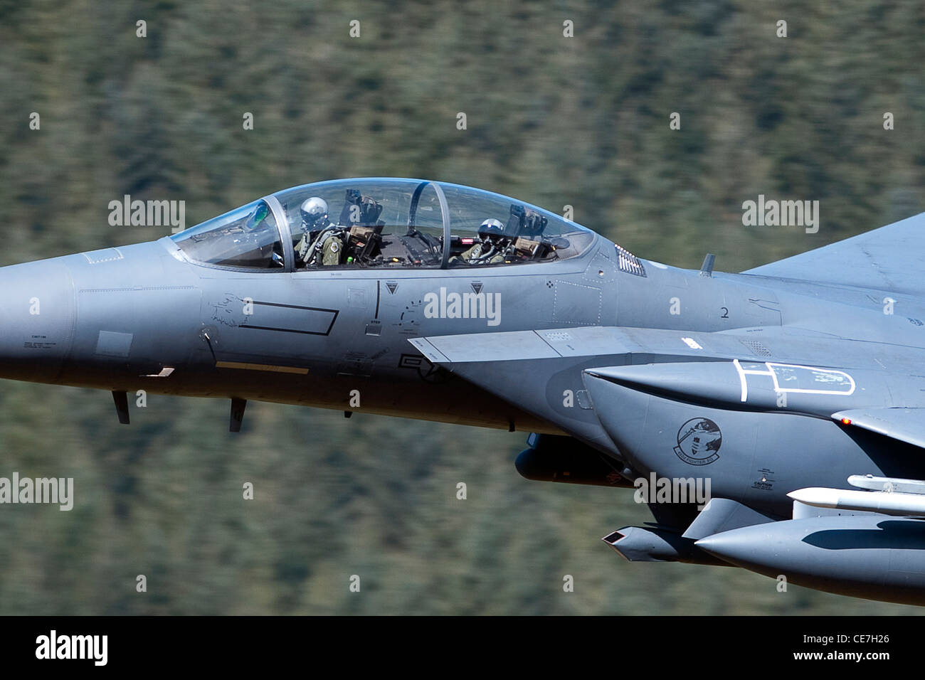 f-15 USAF strike eagle low level flying in the mach loop mid wales Stock Photo