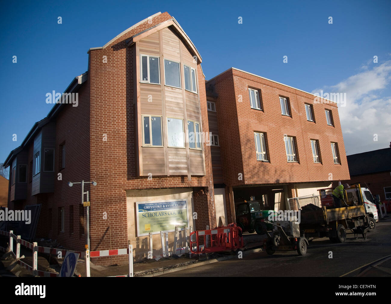 New Scholars Court housing development, Woodbridge, Suffolk, England - Stock Image
